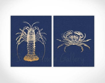 Navy Sea Life Print, Navy Lobster, Navy Crab, Navy Sea Coral Print Set of Two prints, Navy Wall Art Crab and Lobster Wall Art, Sealife print
