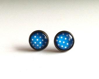 12mm Blue White Polka Dot Stud Earrings, Blue White Dot Earrings, White Polka Dot Studs, Blue White Polka Dot Jewelry, Blue and White Studs