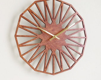 Star Clock. Modern, Geometric, Mid Century, Minimal, Laser Cut, Wood, Wall, Art, Decor, Clock.