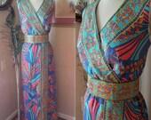 Stunning 60's Mod paisley maxi dress