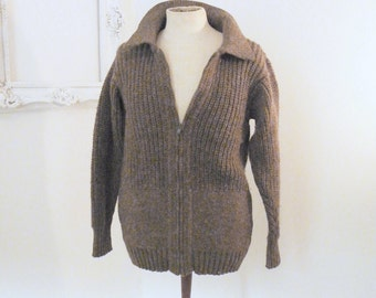Inis Meain Chunky Thick Cocoa Brown Vintage Zip Cardigan Irish Wool Sweater Men Sz 40