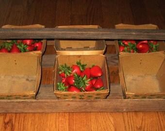 Vintage Wooden Strawberry carton caddy