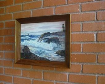 Vintage Lighthouse Painting Framed Signed