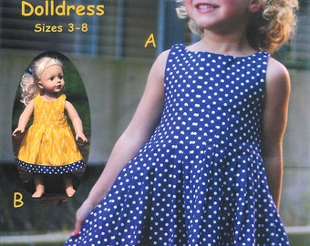 Pattern - Easy Peazy Pleats - Dress & Doll dress Paper Sewing Pattern by Olive Ann Designs