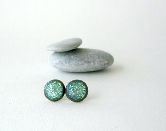 Aqua blue glitter stud earrings- Summer turquoise posts- Delicate everyday jewelry