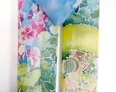 Fantasy scarf - geek scarf handpainted -  small scarf - neck scarf - scarf book - flowers scarf - silk scarf novel- silk scarves