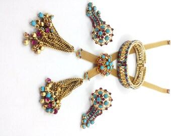 Vintage HATTIE CARNEGIE Necklace Clip Earrings Bracelet Parure Rhinestones Turquoise Ruby Pink Tassel Lariat  SCARCE Made by Juliana D & E