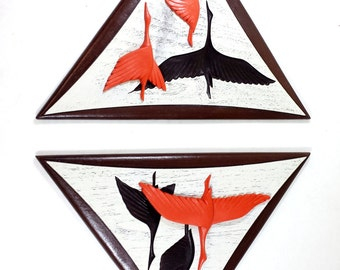Vintage Geese Wall Art  MID CENTURY DANISH Modern Flying Geese 3D Burwood Geese Abstract Art Burnt Orange Awesome Find