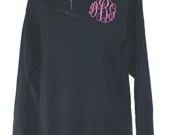Personalized Sweatshirt Quarter Zip Black Small
