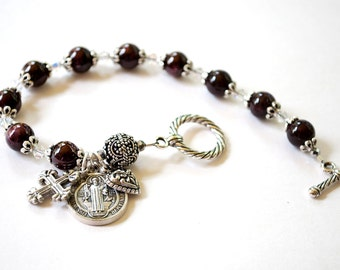 Saint Benedict Rosary Bracelet with 24 Page Novena Book, Catholic Jewelry, Confirmation Gifts, Genuine Garnet Rosaries, Catholic Gifts