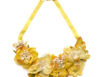 Spring Roses- Silk fabric flowers bib necklace- grosgrain ribbon Yellow