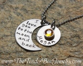 personalized necklace I love you to the moon and back moon and name pendant necklace PFBCX Valentine's Day Gift