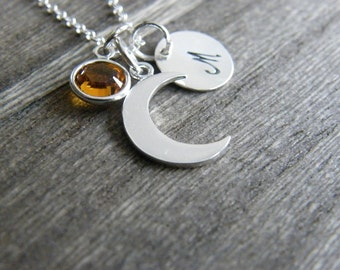 Crescent Moon Necklace, Initial Necklace, Birthstone Necklace, Sterling Silver Moon Necklace, Personalized Jewelry, I love you to the moon