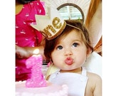First Birthday Crown Headband White Gold First Birthday Cake Smash Photo Prop Party