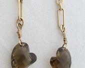 Champagne Quartz Hearts on Gold Chain Earrings