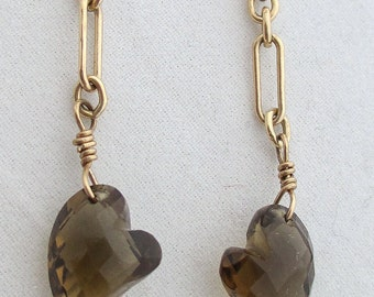 VALENTINE - Champagne Quartz Hearts on Gold Chain Earrings