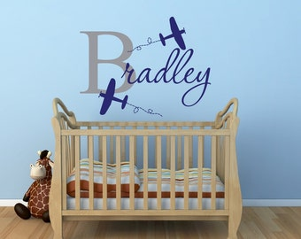 Airplane Wall Decal - Boys Name Wall Decal - Airplane Name Wall Decal - Boys Nursery Wall Decal - Airplane Nursery Wall Decal