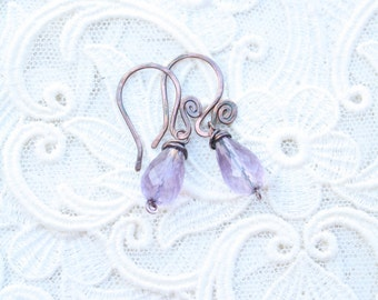 Dangle Amethyst and Copper Earrings, Small Wire Wrapped Earrinds