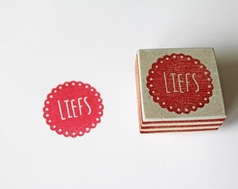 Hand carved stamp, 'Liefs'
