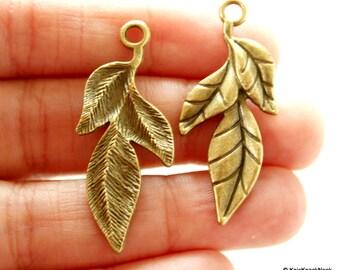 Three Leaf Bronze Charm Pendant