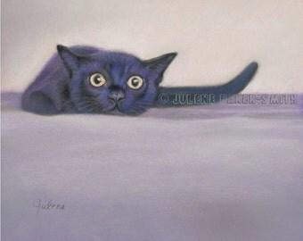 Cat Art Print, Black Cat Art, Black Cat Gift, Fun Cat Print