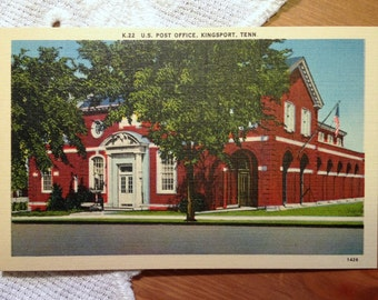 Vintage Postcard, U.S. Post Office, Kingsport, Tennessee - 1940s Linen Paper Ephemera