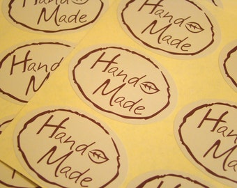 """60 """"Hand Made"""" Brown Stickers Square Gift Tags Gift Wrapping Handmade Tags Product Labels"""