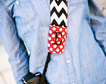 Monogrammed camera strap cover (red/black)