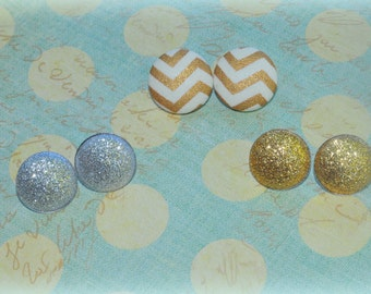 METALLIC glitter EARRINGS,gold,silver,CHEVRON set or individual