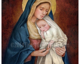 Madonna and Child (H) Catholic Art Print Blessed Virgin Mary, Baby Jesus #4029