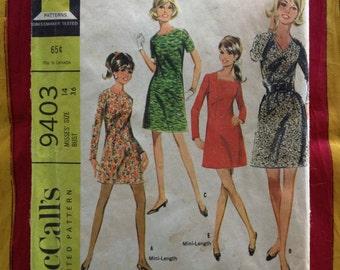60's Dress Pattern McCall's 9403