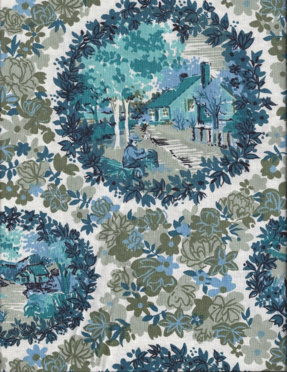 heavy cotton blue toile home decorating fabric by the yard screen