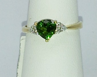 1.04 ct Chrome Diopside with Diamond Accent 14k Yellow Gold Ring Sz 6