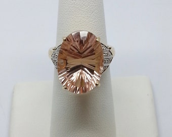 11.33ct Specialty Cut Oval Morganite 10Kt Yellow Gold Ring Size 7