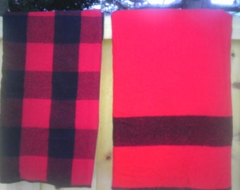 Vintage Hudson Bay Wool Blanket Faribo Woolen Mill Red Black Stripe Rustic Cabin Lodge Decor Christmas Wall Bed Throw Wedding Gift