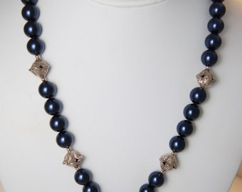 Navy Blue Pearl Single Strand Necklace with Sterling Silver Tibetan Lapis Pendant