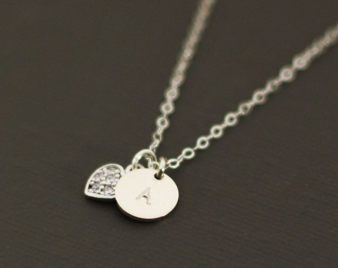 Initial Necklace with Pave Heart Necklace -  Personalized Initial Necklace - Customized necklace