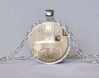 JOHN LENNON PENDANT Imagine Pendant John Lennon Signature Beatle Jewelry Beatles Gift for John Lennon Fan Imagine Necklace White