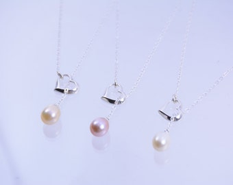 Bridesmaid Heart Necklace Set, set of 3, 4, 5, 6, 7, or 8