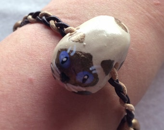 Siamese Cat Polymer Clay Bracelet - Hand-Painted, Braided Leather