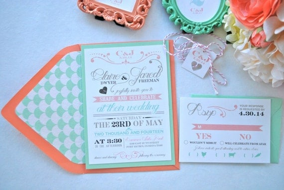rustic modern chic mint and coral wedding invitation not a