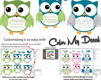Owl Wall Decals, Nursery Wall Decals for Baby Boy, Owl Decals For Boy Nursery (6 Fat Owl Blue Gray) 6FOO