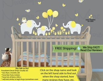 Elephant Wall Decal, Balloon Wall Stickers, Elephant Nursery Decal (Elephants & Balloons Yellow Grey) 3EB