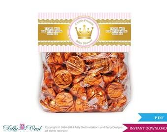 Girl Princess Treat Goodie bag Toppers Printable for Baby Girl Shower or Birthday DIY Gold Pink, Royal - ao71bs4