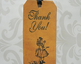 Victorian inspired Hang Tag Thank you script Little girl having a snack and her Kitty Vintage set 18 Gift tags