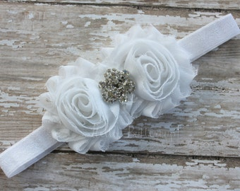 White Shabby Chic Headband, Baptism Headband Christening Headband, Bridal Flower Girl Headband