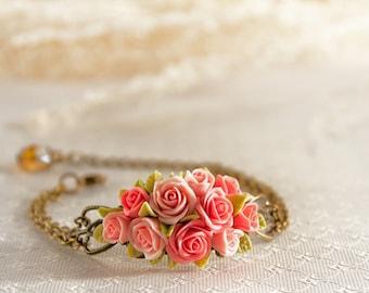 Pink Rose bracelet, flowers bracelet, vintage bracelet , floral