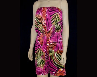 Shorts Strapless Jumpsuit Bright Jungle Print Stretch Spandex - Fits Medium or Large Pink Green Black Orange