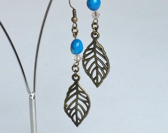 Antique Bronze Leaf Blue Shell Beads Earrings, Rustic Boho Bohemian Brides Bridesmaids Earrings E59