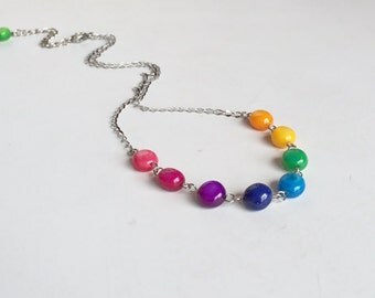 Colorful Shell Stainless Steel Necklace, Fun Classy Chic Jewelry, Everyday Wear Necklace N115